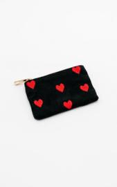 "Wallet ""Rib of Hearts"" - Black & Red - XXS"