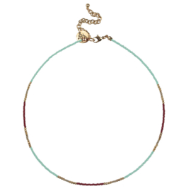 Happy Beads Necklace - Multicolor & Mint
