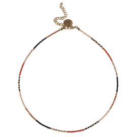 Happy Beads Necklace - Multicolor & Hot coral