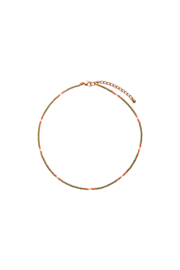 Happy Beads Necklace - KHAKI & coral