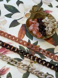 Marble Chain Bagbelt - Beige & Pink