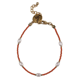 Happy Beads Bracelet - Hot Coral & Pearl