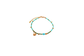 Big heart anklet - Turquoise & Gold