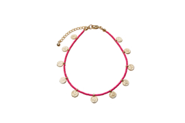 Golden Coins Anklet - Hot Pink