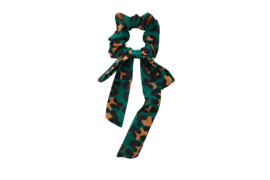 Leopard BOW Scrunchie - Green