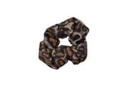 Party animal- glitter leopard scrunchie- black