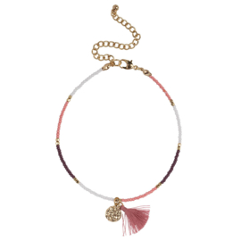 Happy Beads Anklet ''Brush'' - Pink & Multicolor
