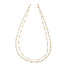 """Double layered Necklace & Suncord """"PEARLS & GOLDEN BALLS"""""""