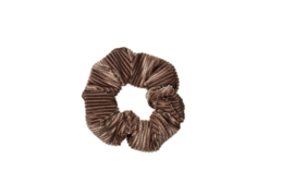 "Fluffy ""ribster"" Velvet Scrunchie Green/Brown"