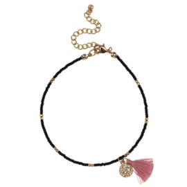 Happy Beads Anklet ''Brush'' - Black & Gold