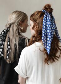 Hairscarf Cniffon Dots- Blue