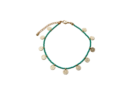 Golden Coins Anklet - Green