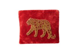Velvet Etui Leopard - Vintage Red