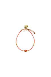 Happy Beads Anklet - Coral & pink