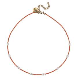 Happy Beads Necklace - Hot Coral & Pearl