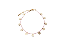 Golden Coins Anklet - Light Pink