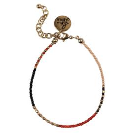 Happy Beads Bracelet - Multicolor & Hot coral