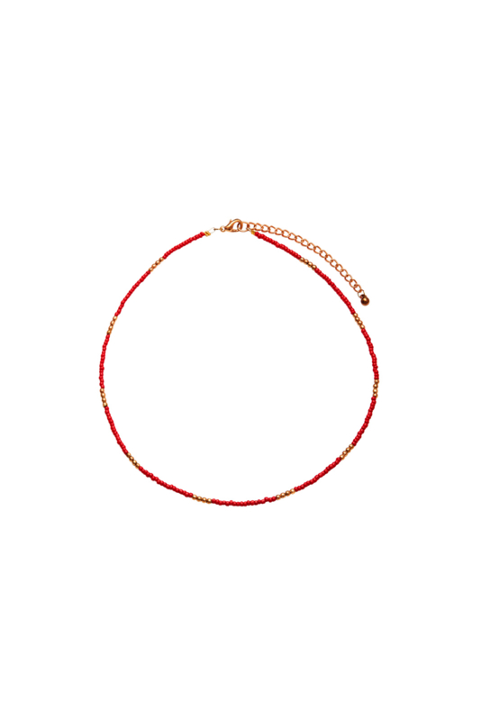 Happy Beads Necklace - RED & gold