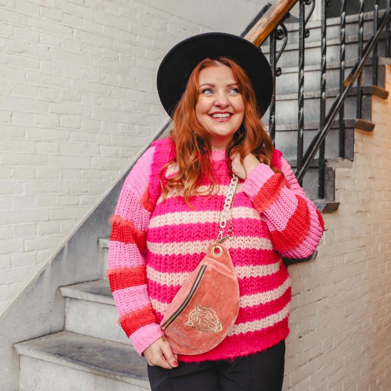 "Crossbody bumbag NEW -""TIGER""- velvet pink"