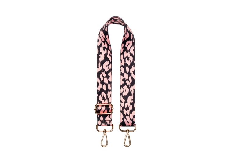 Bag STRAP - Leopard Pink Strap- Gold