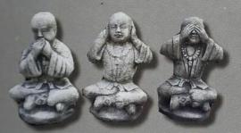 Boeddha horen-zien-zwijgen 25cm