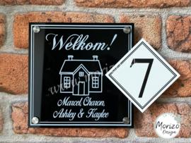 Naambordje welkom met huisnummer