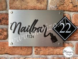 bedrijfsnaambordje met logo Nailbar
