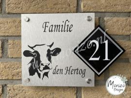 Naambordje koe apart huisnummer