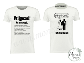Vrijgezellen opdrachten t shirt GAME OVER
