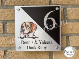 Naambordje Beagle hond