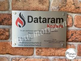 bedrijfsnaambordje Dataram Kachels