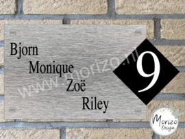 Naambordje strak met apart huisnummer groot