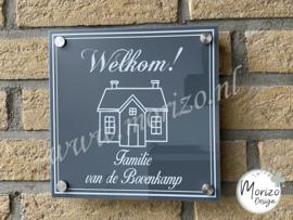 Naambordje welkom met huisje