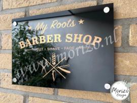 bedrijfsnaambordje Barber shop