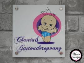 bedrijfsnaambordje met logo chantals gastouderopvang