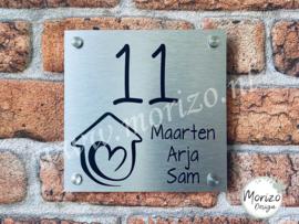 Naambordje met huis hart 2