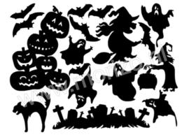 Sinterklaas herfst halloween kerst figuurtjes raamdecoratie huisjes zwart