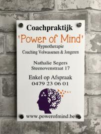 bedrijfsnaambordje met logo power of mind