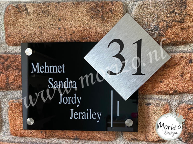 Naambordje lijnen apart huisnummer