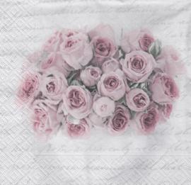 Pink rose in vase, servet
