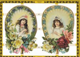Vintage meisjes, poëzieplaatje Golden serie