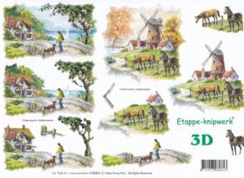 Molen & Paarden, 3D Knipvel Le Suh