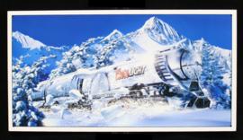 Wandbord metaal Coors bier sneeuw trein