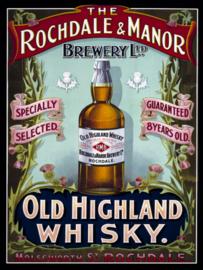 Wandbord metaal Old Highland Whisky