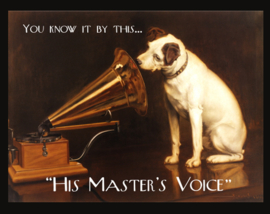 Wandbord metaal His master's voice