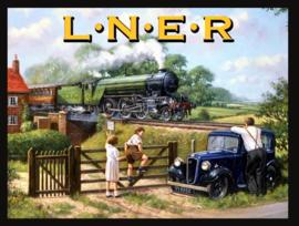 Wandbord metaal L.N.E.R. trein