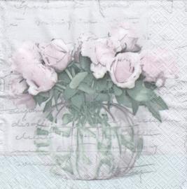 Vase with roses, servet