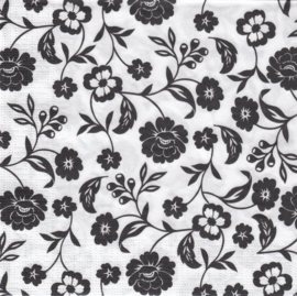 Zwarte bloemen, servet