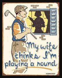 Wandbord metaal Humor golf tekst