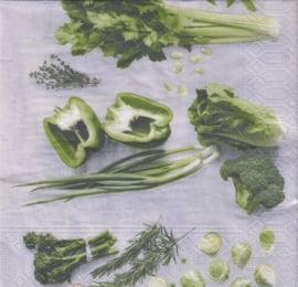 Groene groenten, servet